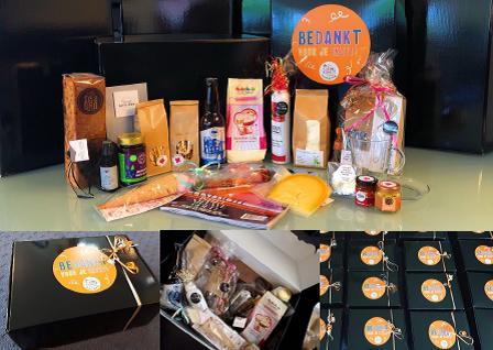 """""""Dank voor je Inzet"""" pakket met lokale producten voor medewerkers Kinderopvang De Kleine Kunst"""